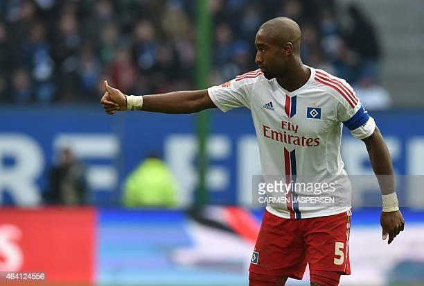 Hamburg's Swiss defender Johan Djourou reacts during the German first division Bundesliga football match Hamburger SV vs Borussia Moenchengladbach in...