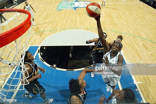 Hamchetou MaigaBa of the Minnesota Lynx puts up a shot against the Tulsa Shock during the game on May 23 2010 at the Target Center in Minneapolis...