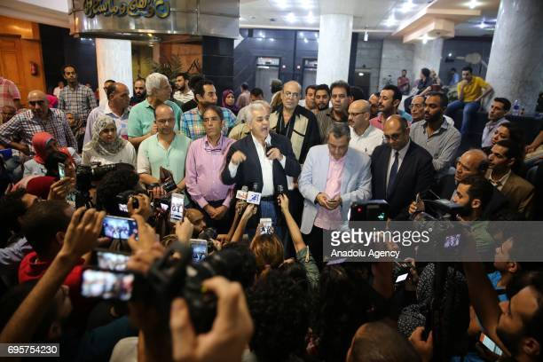 Hamdeen Sabahi former presidential candidate and journalist speaks to media as he attends a protest that staged against approval of a maritime border...