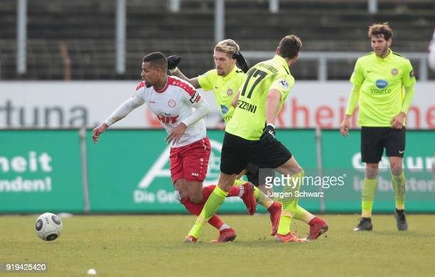 Hamdi Dahmani of Cologne and Manuel Schaeffler of Wiesbaden fight for the ball during the 3 Liga match between SC Fortuna Koeln and SV Wehen...