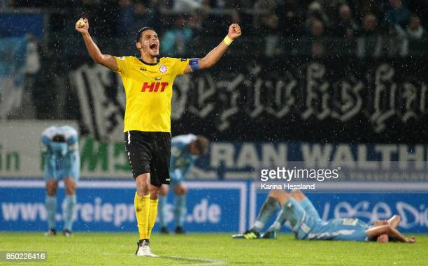 Hamdi Dahmani of Koeln celebrates the victory during the 3Liga match between Chemnitzer FC and SC Fortuna Koeln at Community4you Arena on September...
