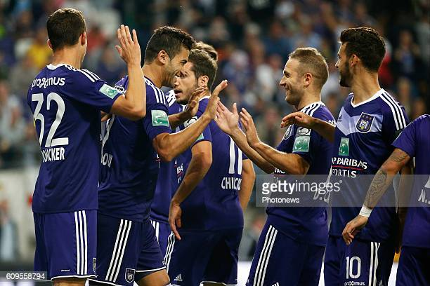 Hamdi Harbaoui forward of Rsc Anderlecht scores and celebrates pictured during Croky Cup match between RSC Anderlecht and OHL on September 21 2016 in...