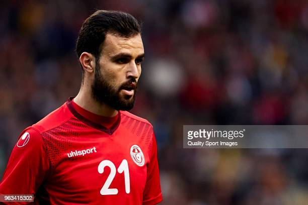 Hamdi Nagguez of Tunisia looks on during the friendly match of preparation for FIFA 2018 World Cup between Portugal and Tunisia at the Estadio AXA on...