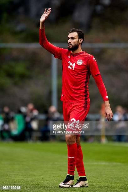 Hamdi Nagguez of Tunisia reacts during the friendly match of preparation for FIFA 2018 World Cup between Portugal and Tunisia at the Estadio AXA on...