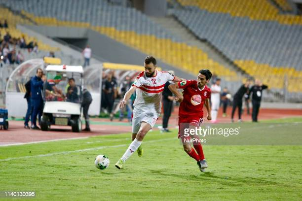 Hamdi Nagguez of Zamalek fights for the ball during the CAF Confederation Cup semifinal football match between Zamalek vs Etoile du Sahel at the Borg...