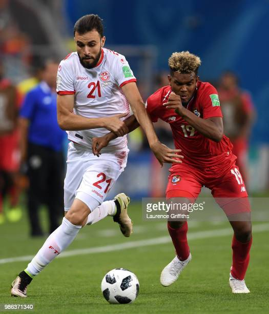 Hamdi Naguez of Tunisia conpetes for the ball with Ricardo Avila of Panama during the 2018 FIFA World Cup Russia group G match between Panama and...