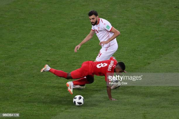Hamdi Naguez of Tunisia fouls Edgar Barcenas of Panama during the 2018 FIFA World Cup Russia group G match between Panama and Tunisia at Mordovia...