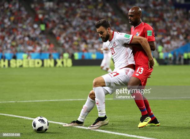 Hamdi Naguez of Tunisia is challenged by Adolfo Machado of Panama during the 2018 FIFA World Cup Russia group G match between Panama and Tunisia at...