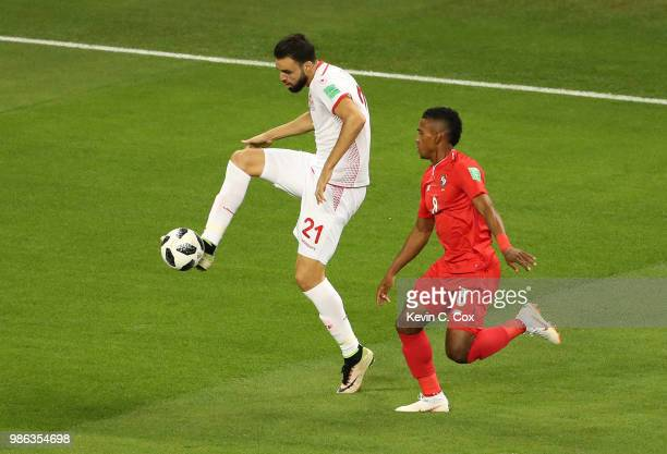 Hamdi Naguez of Tunisia is challenged by Edgar Barcenas of Panama during the 2018 FIFA World Cup Russia group G match between Panama and Tunisia at...