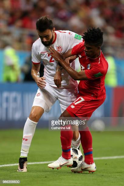 Hamdi Naguez of Tunisia is challenged by Luis Ovalle of Panama during the 2018 FIFA World Cup Russia group G match between Panama and Tunisia at...