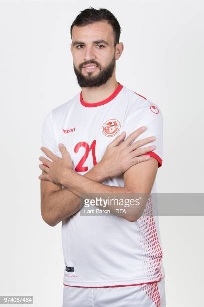 Hamdi Naguez of Tunisia poses during the official FIFA World Cup 2018 portrait session on June 13 2018 in Moscow Russia