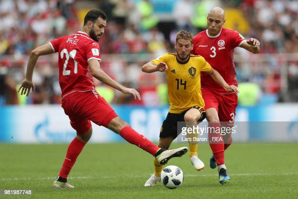 Hamdi Naguez of Tunisia tackles Dries Mertens of Belgium during the 2018 FIFA World Cup Russia group G match between Belgium and Tunisia at Spartak...