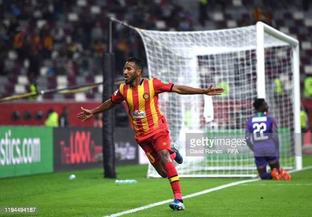 Hamdou Elhouni of Esperance Sportive de Tunis celebrates after scoring his sides fourth goal during the FIFA Club World Cup 2019 5th place match...