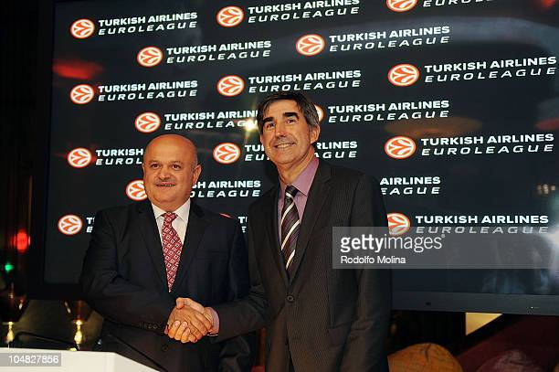 Hamdy Topcu Chairman of the Board of Turkish Airlines and Jordi Bertomeu CEO of Euroelague Basketball poses during the Presentation of the Agreement...