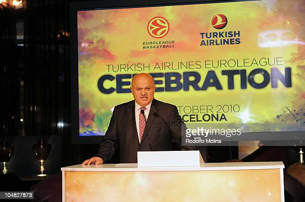 Hamdy Topcu Chairman of the Board of Turkish Airlines during the Presentation of the Agreement with Euroleague Basketball at Casa Fuster on October 5...