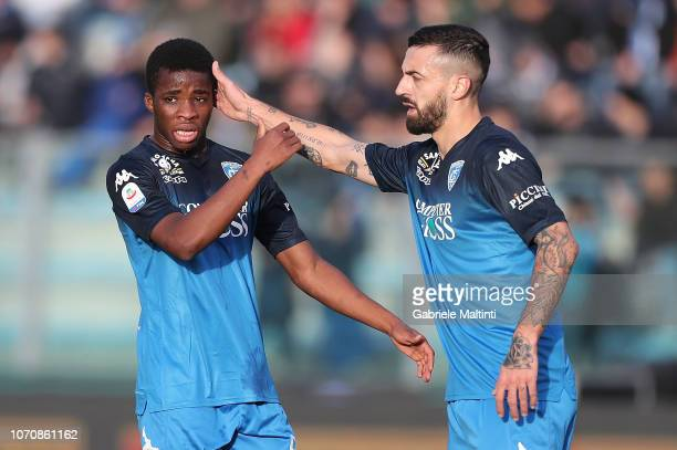 Hamed Junior Traore' and Francesco Caputo of Empoli FC gesture during the Serie A match between Empoli and Bologna FC at Stadio Carlo Castellani on...