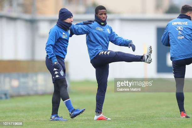 Hamed Junior Traore' and Ismael Bennacer of Empoli FC during a training session on December 24 2018 in Empoli Italy