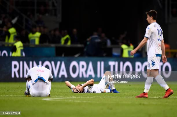 Hamed Junior Traore , Marko Pajac and Cristian Dell'Orco of Empoli FC are dejected at the end of the Serie A football match between FC Internazionale...