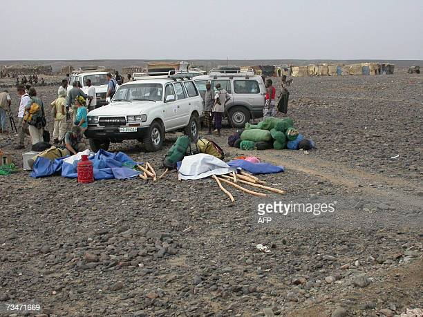 Photo dated in February 2005 shows an expedition in the village of Hamedali region of the desert region of Afar More than a dozen Western tourists...