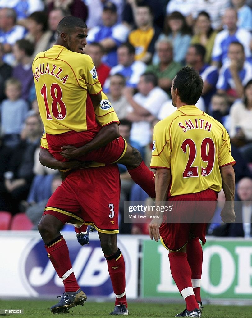 Hamer Bouazza of Watford celebrates his goal during the Barclays Premiership match between Wigan Athletic and Watford at the JJB Stadium on September 23, 2006 in Wigan, England.