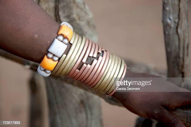 Hamer tribe, Bracelet detail worn my Hamer woman, South Omo, Omo River Valley, Ethiopia, Africa