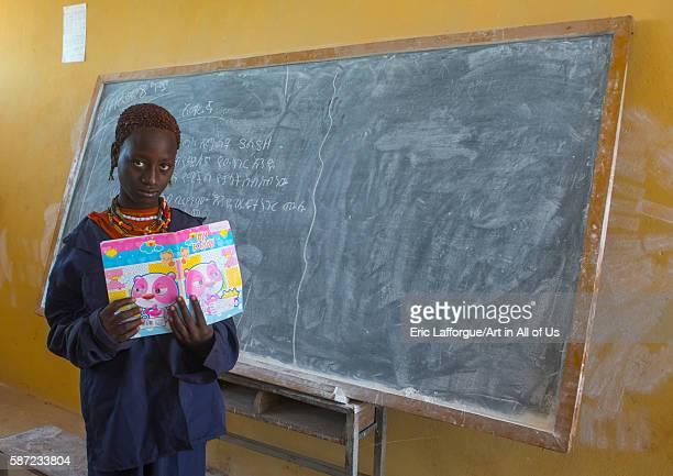 Hamer tribe girl in classroom omo valley turmi Ethiopia on March 16 2016 in Turmi Ethiopia