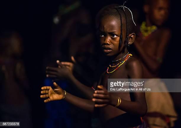 Hamer tribe girls dancing at night omo valley turmi Ethiopia on March 16 2016 in Turmi Ethiopia