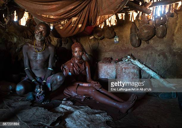 Hamer tribe teenage girl called a uta and her future stepfather who keeps her 6 months in a hut omo valley turmi Ethiopia on March 13 2016 in Turmi...