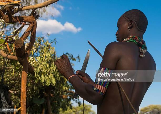 Hamer tribe whipper during a bull jumping ceremony omo valley turmi Ethiopia on March 12 2016 in Turmi Ethiopia