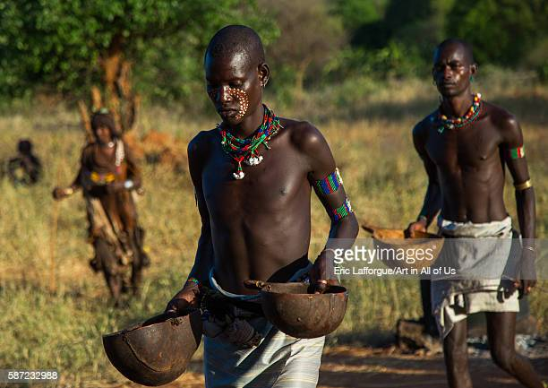 Hamer tribe whippers during a bull jumping ceremony omo valley turmi Ethiopia on March 12 2016 in Turmi Ethiopia