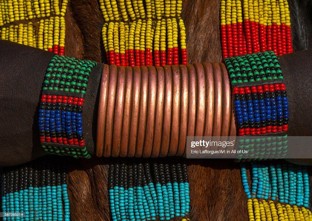 Hamer tribe woman copper bracelets, omo valley, turmi, Ethiopia on March 13, 2016 in Turmi, Ethiopia.