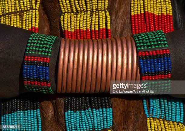 Hamer tribe woman copper bracelets omo valley turmi Ethiopia on March 13 2016 in Turmi Ethiopia