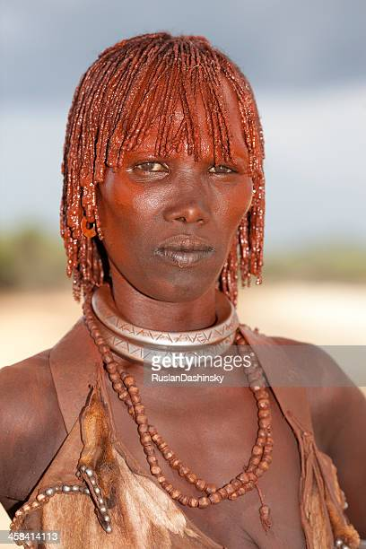 hamer woman (lower omo valley, ehiopia). - hamer tribe stock pictures, royalty-free photos & images