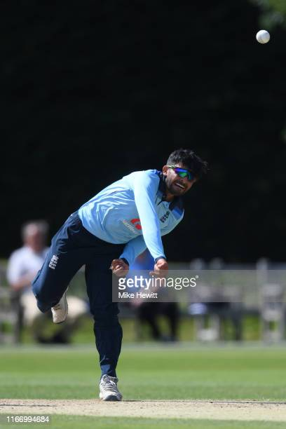 Hami Qadri of England U19s in action during an Under 19 TriSeries match between England U19 and India U19 at the County Ground on August 09 2019 in...