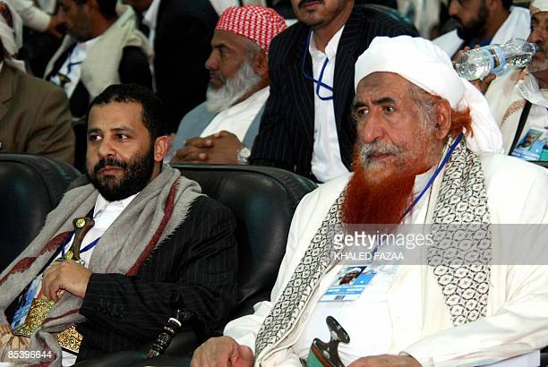 Hamid alAhmar one of the most influencial tribal chiefs in Yemen and the son of the late leader of the Islamist Islah party Abdullah alAhmar sits...