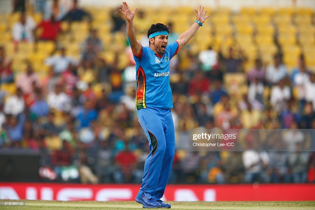 Hamid Hassan of Afghanistan appeals for a wicket during the ICC World Twenty20 India 2016 Group 1 match between Afghanistan and West Indies at the Vidarbha Cricket Association Stadium on March 27, 2016 in Nagpur, India.