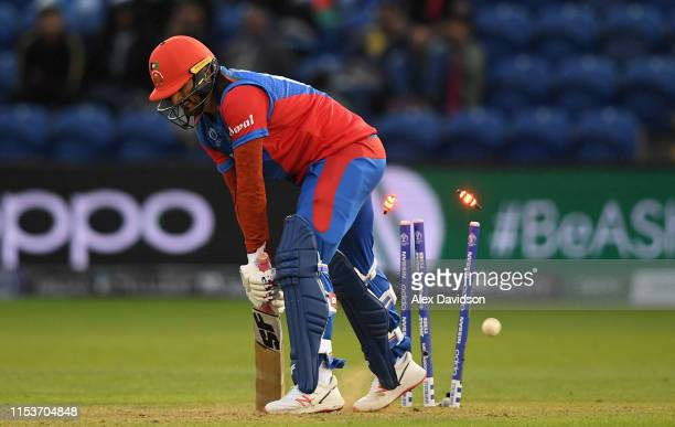 Hamid Hassan of Afghanistan is bowled by Lasith Malinga of Sri Lanka to give victory to Sri Lanka during the Group Stage match of the ICC Cricket...