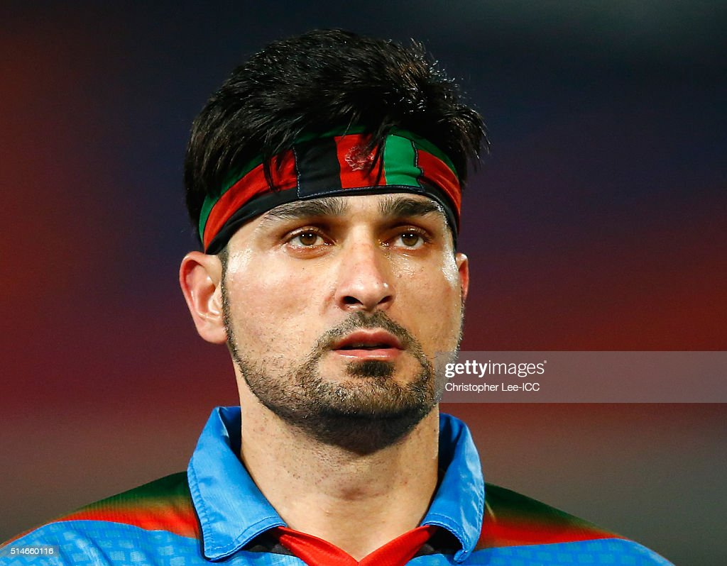 Hamid Hassan of Afghanistan wears an Afghanistan head band during the ICC Twenty20 World Cup Round 1 Group B match between Hong Kong and Afghanistan at the Vidarbha Cricket Association Stadium on March 10, 2016 in Nagpur, India. on March 10, 2016 in Nagpur, India.