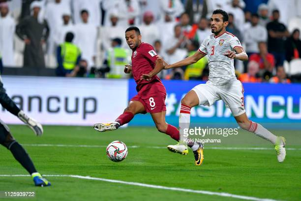 Hamid Ismaeil Khaleefa scores the fourth goal during the AFC Asian Cup semi final match between Qatar and United Arab Emirates at Mohammed Bin Zayed...