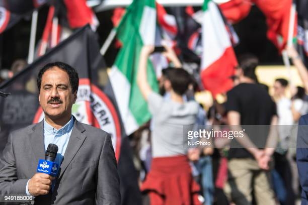 Hamid Masoumi Nejad correspondent of the Iranian RTV in Italy during demonstration CasaPound has set up a garrison in Rome's Piazza Barberini, near...