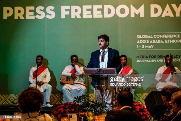 Hamid Mir journalist and member of the jury speaks during the Guillermo Cano World Press Freedom Prize ceremony in Addis Ababa on May 2 2019 The...