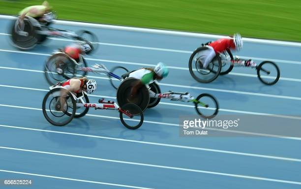 Hamide Kurt of Turkey competes in 100m Wheelchair Women's final race during the 9th Fazza International IPC Athletics Grand Prix Competition World...
