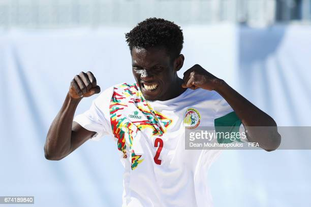 Hamidou Barry of Senegal celebrates scoring a goal during the FIFA Beach Soccer World Cup Bahamas 2017 group A match between Ecuador and Senegal at...