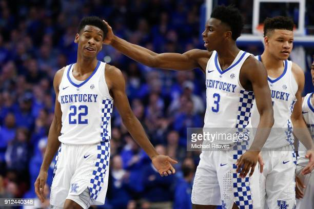 Hamidou Diallo of the Kentucky Wildcats celebrates with Shai GilgeousAlexander after a basket against the Vanderbilt Commodores during the second...