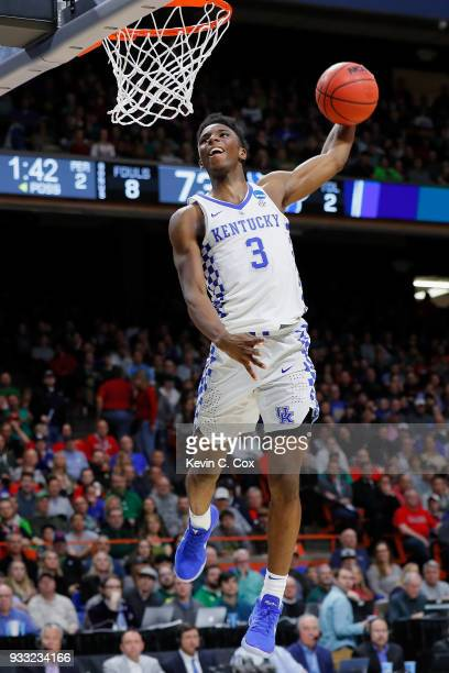Hamidou Diallo of the Kentucky Wildcats dunks the ball during the second half against the Buffalo Bulls in the second round of the 2018 NCAA Men's...