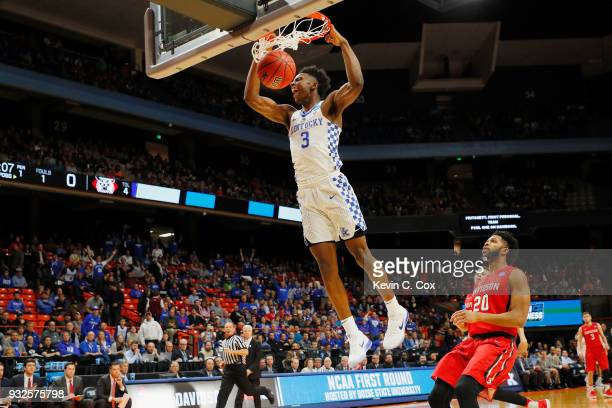 Hamidou Diallo of the Kentucky Wildcats dunks the ball in the first half against the Davidson Wildcats during the first round of the 2018 NCAA Men's...