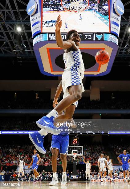 Hamidou Diallo of the Kentucky Wildcats reacts after dunking against the Buffalo Bulls during the second half in the second round of the 2018 NCAA...