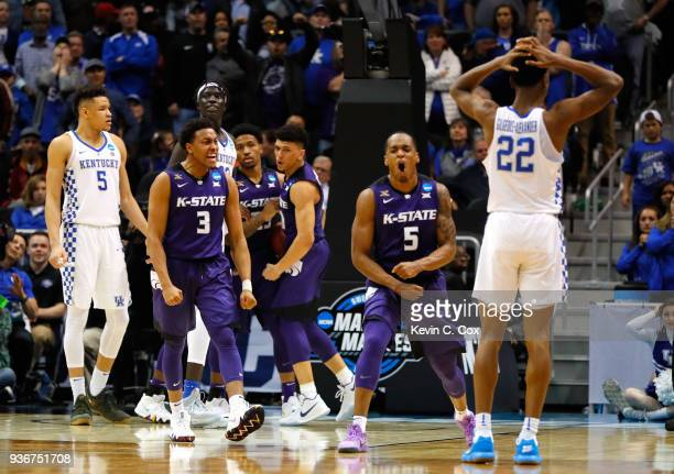 Hamidou Diallo of the Kentucky Wildcats reacts with teammates after a goahead basket late in the second half by Barry Brown against the Kentucky...