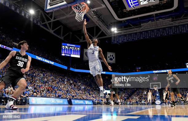 Hamidou Diallo of the Kentucky Wildcats shoots a layup during the second half of the game between the Kentucky Wildcats and the Harvard Crimson at...