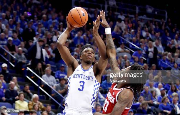 Hamidou Diallo of the Kentucky Wildcats shoots the ball against the Alabama Crimson Tide at Rupp Arena on February 17 2018 in Lexington Kentucky